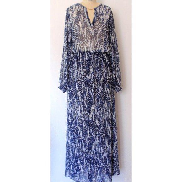H&M BLUE WHITE LEAF BALLOON SLEEVE MAXI DRESS